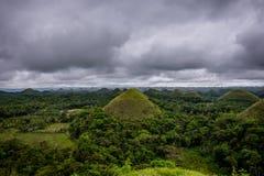Chokladberg av den Bohol ön Arkivfoto