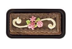 Chokladcake med kräm Arkivbild