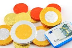 chokladcloseupen coins något Royaltyfri Fotografi