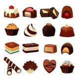 Chokladefterrätter Illustrationer av sötsaker och godisen royaltyfri illustrationer