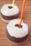 chokladefterrättexponeringsglas mjölkar två Royaltyfri Fotografi