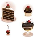 Chokladefterrättuppsättning Arkivfoto