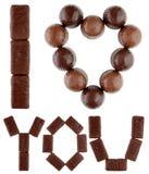 choklader älskar jag gjord text dig Arkivbild