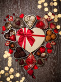Choklader för valentin dag Arkivfoto