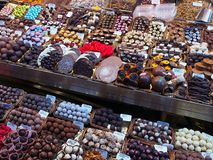 Choklader helgon Josep Market, Barcelona Royaltyfria Bilder