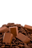 Choklader med kaffebönor som isoleras på white Fotografering för Bildbyråer
