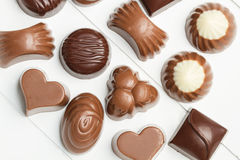 Choklader med olika former Royaltyfria Foton