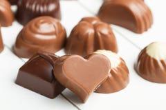 Choklader med olika former Royaltyfri Bild