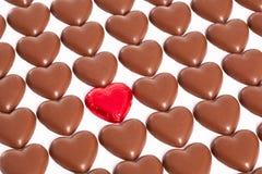 Chokladförälskelsehjärtor Arkivbilder