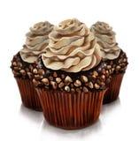 Chokladfeuillantinen, en gourmet- chokladefterrätt med kräm och en fast choklad täcker med en skorpa vektor illustrationer