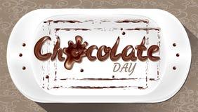 Chokladfläckar, platta, ferie, bakgrund, bokstäver, droppar som flödar vektor illustrationer