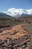 Chokladflod östliga Kuzulsu. Norr Pamir. Royaltyfri Foto