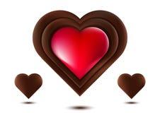 Chokladhjärta, röd chokladhjärta, på vit bakgrund, vektorillustration Royaltyfri Fotografi
