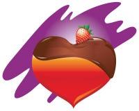 chokladhjärtajordgubbe Royaltyfria Bilder
