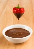 chokladjordgubbe Fotografering för Bildbyråer