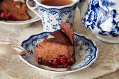 Chokladkörsbärostkaka fotografering för bildbyråer