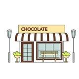 Chokladkafé med lampor, blommor och bänklineouten stock illustrationer