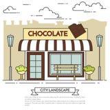 Chokladkafé med lampor, blommor och bänklineouten royaltyfri illustrationer