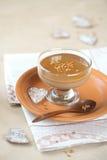 Chokladkaffe Panna Cotta med karamellsås Royaltyfria Bilder