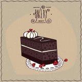 Chokladkaffekaka med kexet på spets- servett Royaltyfria Bilder