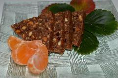 chokladkaka i form av trianglar Royaltyfri Foto