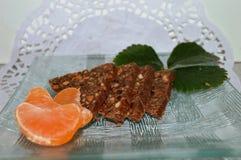 chokladkaka i form av trianglar Royaltyfria Bilder