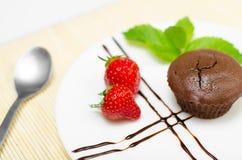 Chokladkaka med jordgubbar och mintkaramellen Fotografering för Bildbyråer