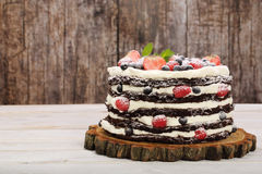 Chokladkaka med kräm- och nya frukter för vit Royaltyfri Bild