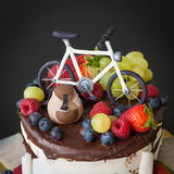 Chokladkaka med ny frukt Arkivfoton