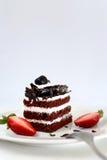 Chokladkaka och jordgubbar Arkivbilder