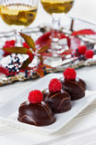 Chokladkakan dekorerade med hallon i den vita plattan med exponeringsglas av vitt vin Fotografering för Bildbyråer