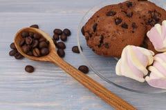 Chokladkakor klibbar med marshmallower på blå bakgrund royaltyfria foton