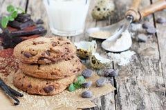 Chokladkakor med chokladchiper Royaltyfri Bild