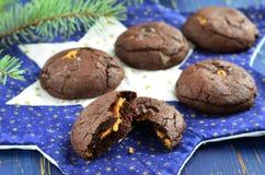 Chokladkakor med jordnötsmör royaltyfria foton