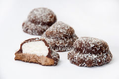 Chokladkakor med kokosnöten Arkivfoto