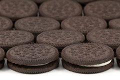 Chokladkakor med kräm- fyllning på vit bakgrund Fotografering för Bildbyråer