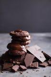 Chokladkakor med smältt choklad och en glidbanachoklad Fotografering för Bildbyråer