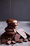 Chokladkakor med smältt choklad och en glidbanachoklad Royaltyfri Fotografi