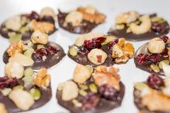 Chokladkakor mycket av muttrar, frö och torkade frukter Arkivbild