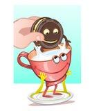 Chokladkakor och mjölkar, den ideala kombinationen Royaltyfri Foto
