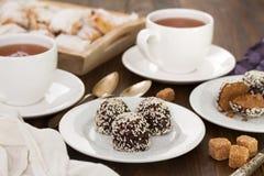 chokladkakor tre Arkivfoton