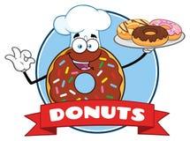 ChokladkockDonut Cartoon Mascot tecken med design för stänkcirkeletikett royaltyfri illustrationer