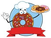 ChokladkockDonut Cartoon Mascot tecken med design för stänkcirkeletikett stock illustrationer