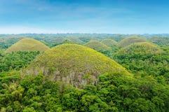 Chokladkullarna av den Bohol ön, Filippinerna Arkivbilder