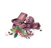 Chokladkvarter, godis, mistel Söt vattenfärg för jul Arkivfoton