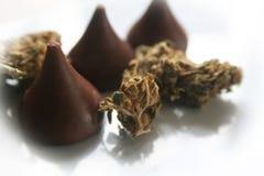 Chokladmarijuanamatvaror med knoppen fotografering för bildbyråer