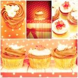 Chokladmuffin, collage Arkivbild