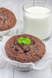 Chokladmuffin med chocochiper och exponeringsglas av mjölkar Royaltyfri Foto