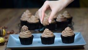Chokladmuffin med chokladisläggning stock video