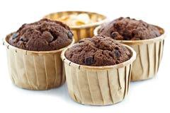 Chokladmuffin med gaffeln Arkivfoton